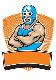 Mexican wrestler mascot crossing his arms