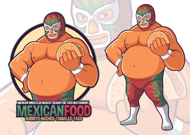 Mexican wrestler mascot for taco restaurant