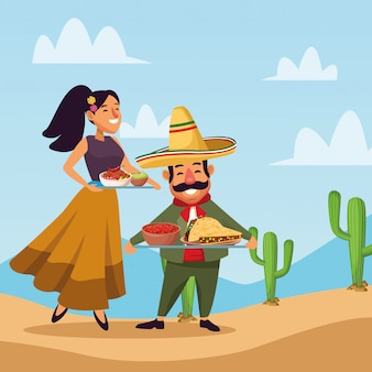 Mexicans celebrating in desert