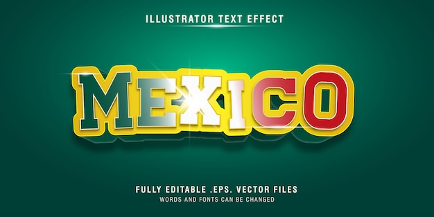 Mexico 3d text style effect, fully editable