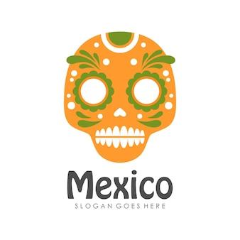멕시코와 멕시코 두개골 기호 또는 아이콘 디자인 서식 파일 프리미엄 벡터
