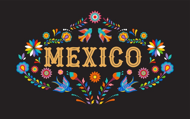 Mexico banner with colorful mexican flowers birds and elements