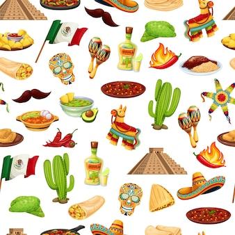 メキシコのカーニバルシンコデマヨのシームレスなパターン、ベクトルイラスト。メキシコ料理、伝統的な休日のフィエスタ料理の背景。ピニャータ、ブリトー、ファヒータ、サボテン、ソンブレロ、旗、その他