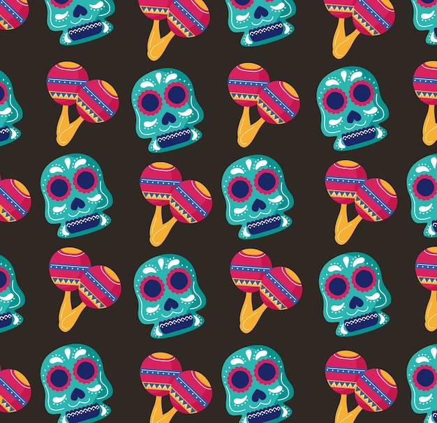 Mexico celebration party with skulls and maracas pattern