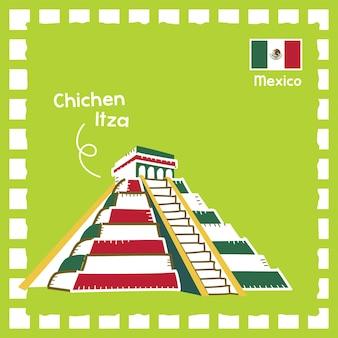 귀여운 스탬프 디자인으로 멕시코 치첸이츠 랜드마크 그림