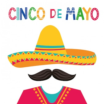 Mexico cinco de mayo card Premium Vector
