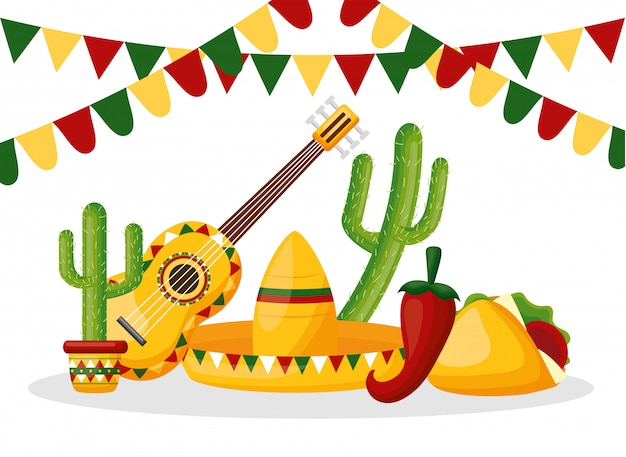 Mexico cinco de mayo mexican objects illustration