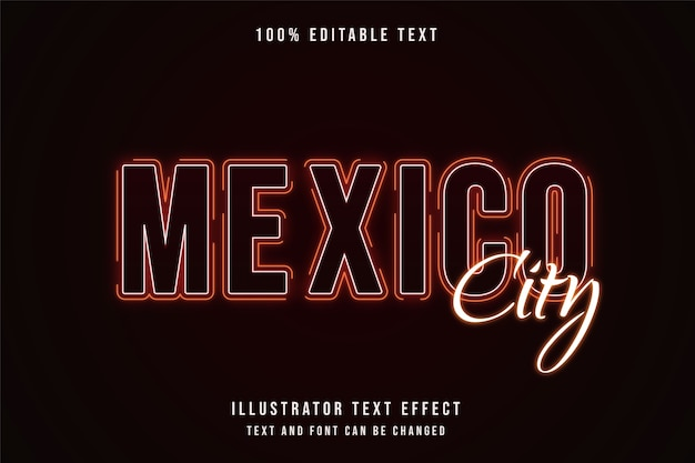 Mexico city,3d editable text effect red gradation yellow neon shadow text style