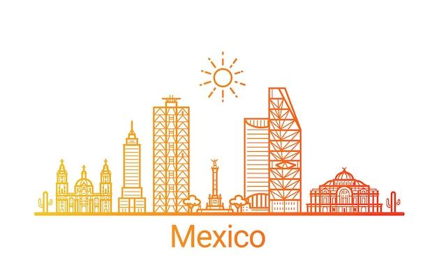 メキシコシティの色のグラデーションライン