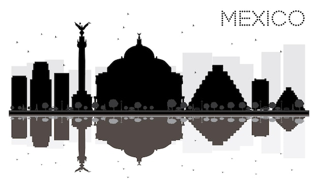 Mexico city skyline black and white silhouette with reflections. cityscape with landmarks. vector illustration.