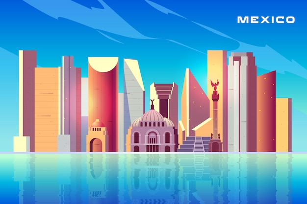 Mexico city skyline cartoon with modern skyscrapers
