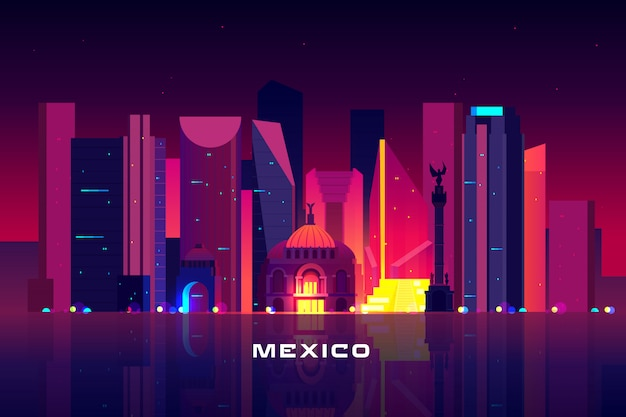 Mexico city skyline, neon illumination.