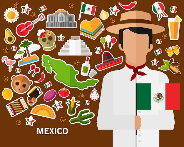 Mexico concept background .flat icons