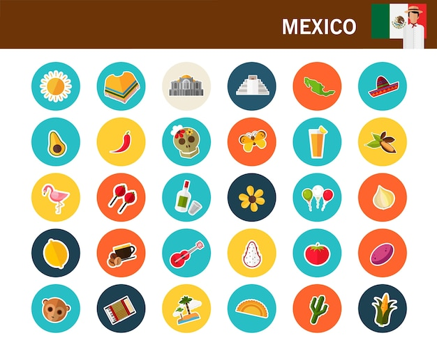 Mexico concept flat icons