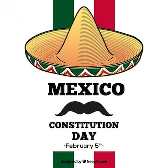 Mexico constitution day background with a hat and a moustache