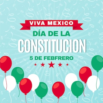 Mexico constitution day flat design balloons
