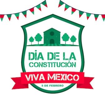 멕시코 헌법의 날 평면 디자인 일러스트 레이션