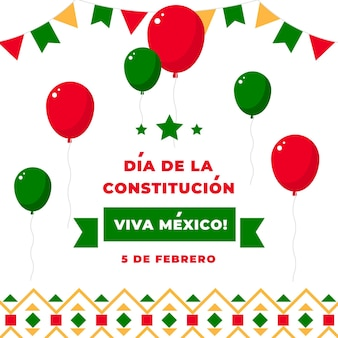 Mexico constitution day flat design illustrations