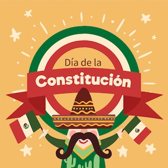 Mexico constitution day hand drawn illustration