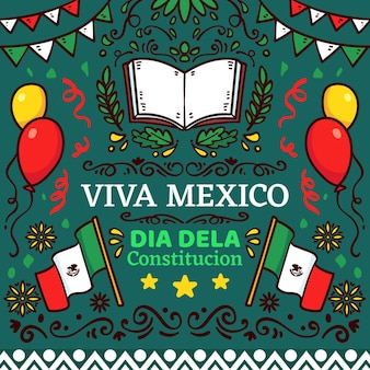 Mexico constitution day hand drawn illustrations