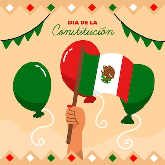 Mexico constitution day illustration with balloons