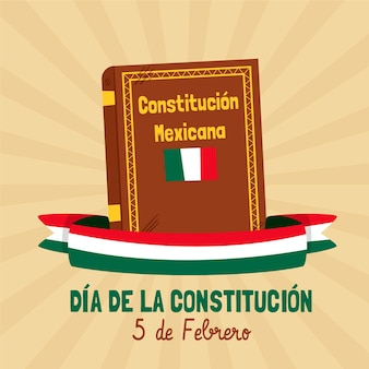 Mexico constitution day illustration with book