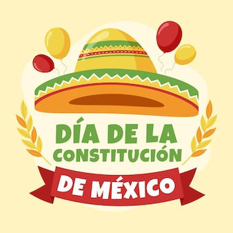 Mexico constitution day illustration with festive hat