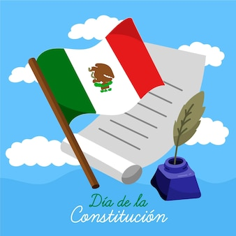 Mexico constitution day illustration with flag