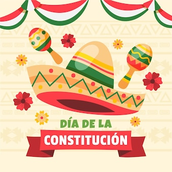 Mexico constitution day illustration
