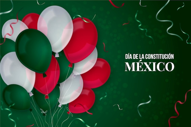 Mexico constitution day realistic balloons
