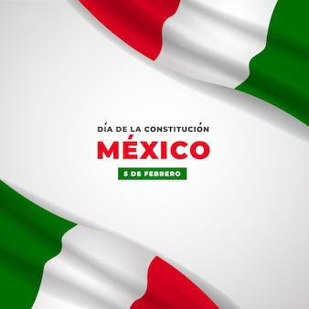 Mexico constitution day realistic flag
