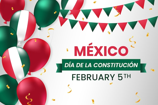 Mexico constitution day with realistic balloons