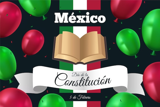 Mexico constitution day with realistic balloons Premium Vector