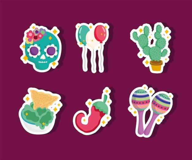 Набор иконок культуры мексики, наклейки украшения череп, кактус, воздушные шары, маракасы