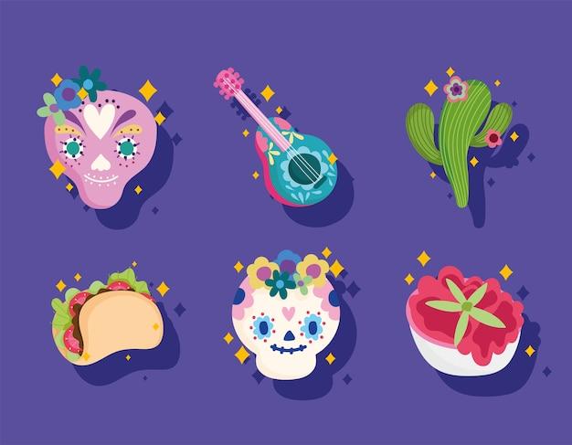 メキシコ文化セットアイコン、頭蓋骨、ギター、サボテン、ソース、タコス
