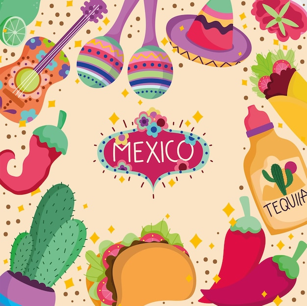 Mexico culture traditional tequila food guitar maraca cactus decoration background  illustration