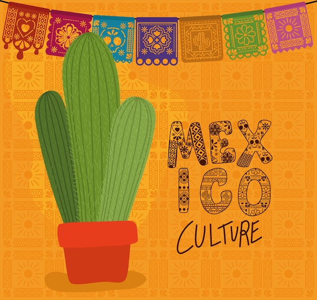 Mexico culture with cactus design, mexican tourism theme