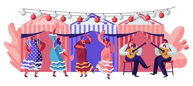 Mexico dancers at cinco de mayo festival. cartoon flat  illustration