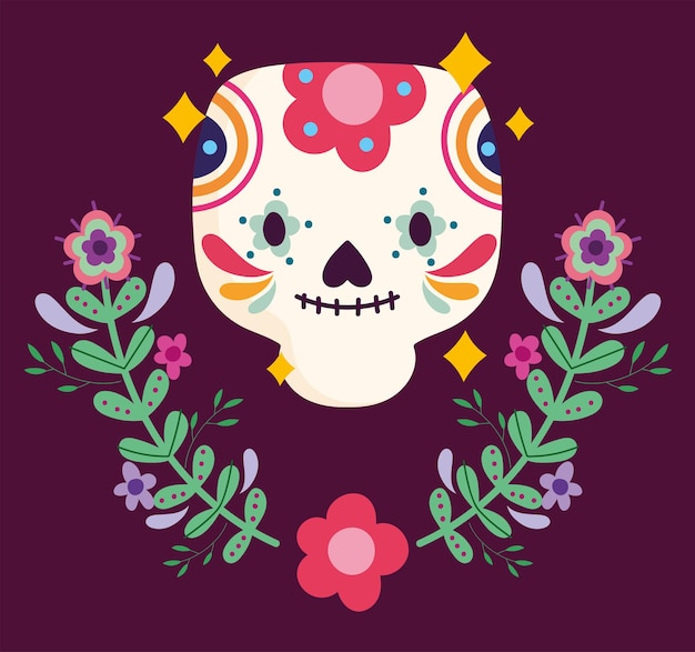 Mexico day of the dead flowers floral sugar skull culture traditional  illustration