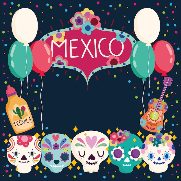 Mexico day of the dead skulls tequila balloons culture traditional  illustration