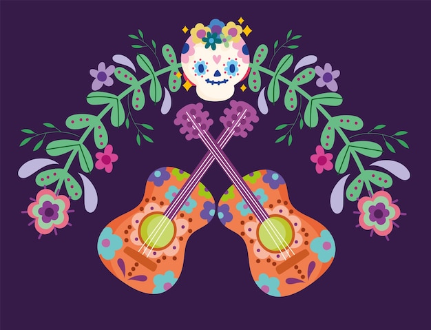 Mexico day of the dead sugar skull guitar flowers festive culture traditional  illustration