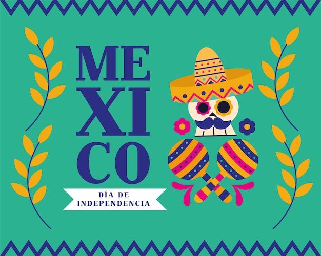 メキシコdiade la independencia頭蓋骨、帽子とマラカスのデザイン、文化のテーマベクトルイラスト