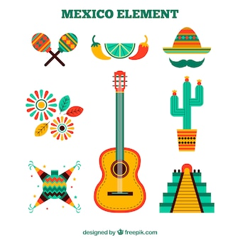 Mexico elements set in flat design