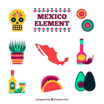 Mexico elements set in flat style