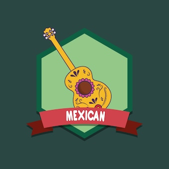 Mexico emblem with guitar over green background, colorful design. vector illustration