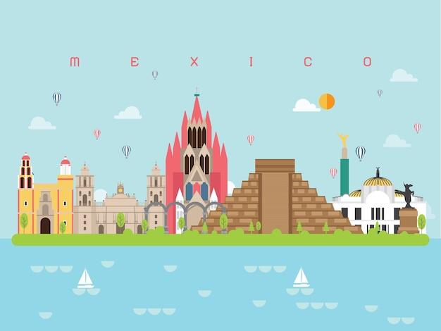 メキシコの有名なランドマークインフォグラフィック