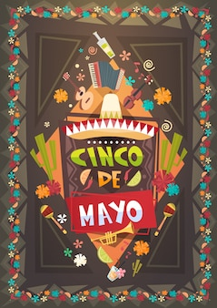 Mexico festival cinco de mayo poster mexican holiday event decoration design