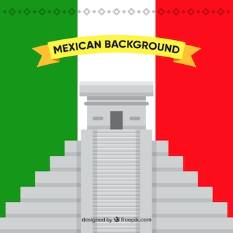 Mexico flag background with chichen itza