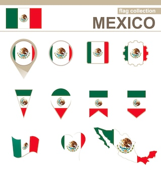 Mexico flag collection, 12 versions