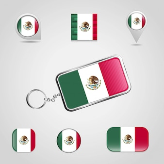 Mexico flag design vector